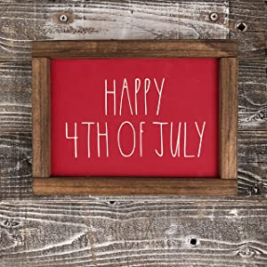 bawansign Rae Dunn Inspired Double Sided Happy 4th of July Sweet Summer Time Wood Sign