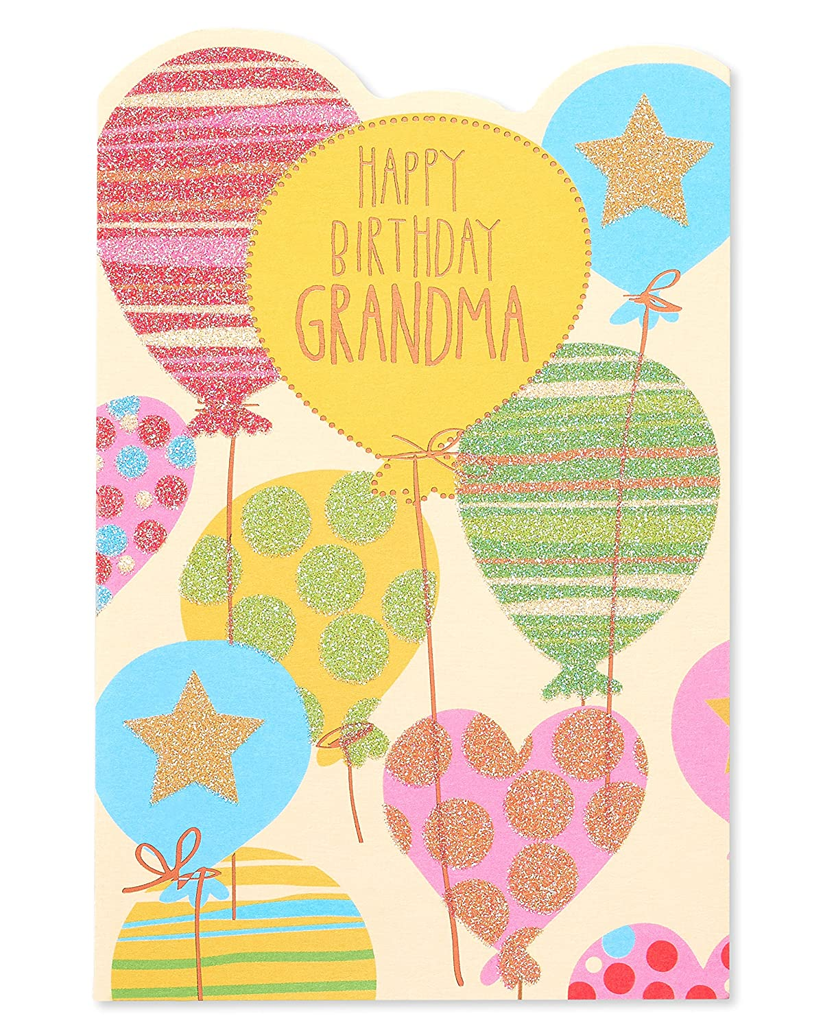 Amazon Colorful Balloons Birthday Card For Grandma With Glitter Office Products