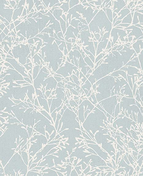 Fine decor fd41713 tranquillity tree wallpaper duck egg silver