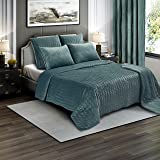 Brielle Premium Heavy Velvet Quilt Set with Cotton Backing, Full/Queen, Seafoam