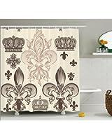 Ambesonne Fleur De Lis Decor Collection Heraldic Pattern With Fleur De Lis And Crowns Tiara
