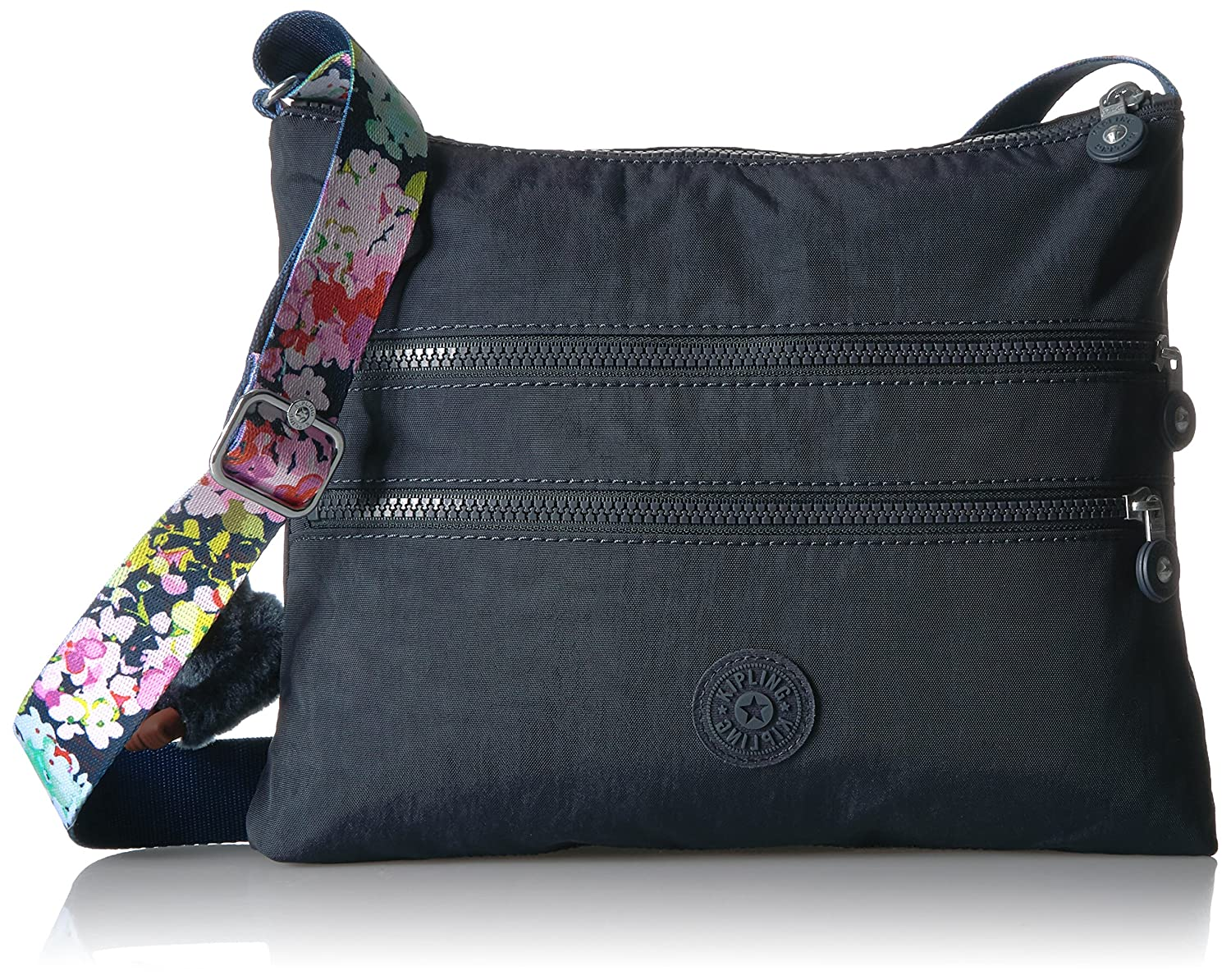 Kipling Alvar Solid Crossbody Bag With A Floral Printed Strap True Fossil Lucy Blue Handbags