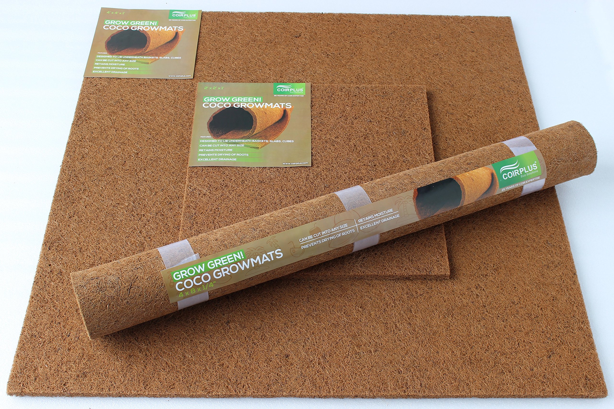 CoirPlus Premium Coco Grow Mat [OMRI Listed]: 4 ft x 4 ft x 1 in (1 piece); 100% Natural & Organic for growing Microgreens, Wheatgrass, etc