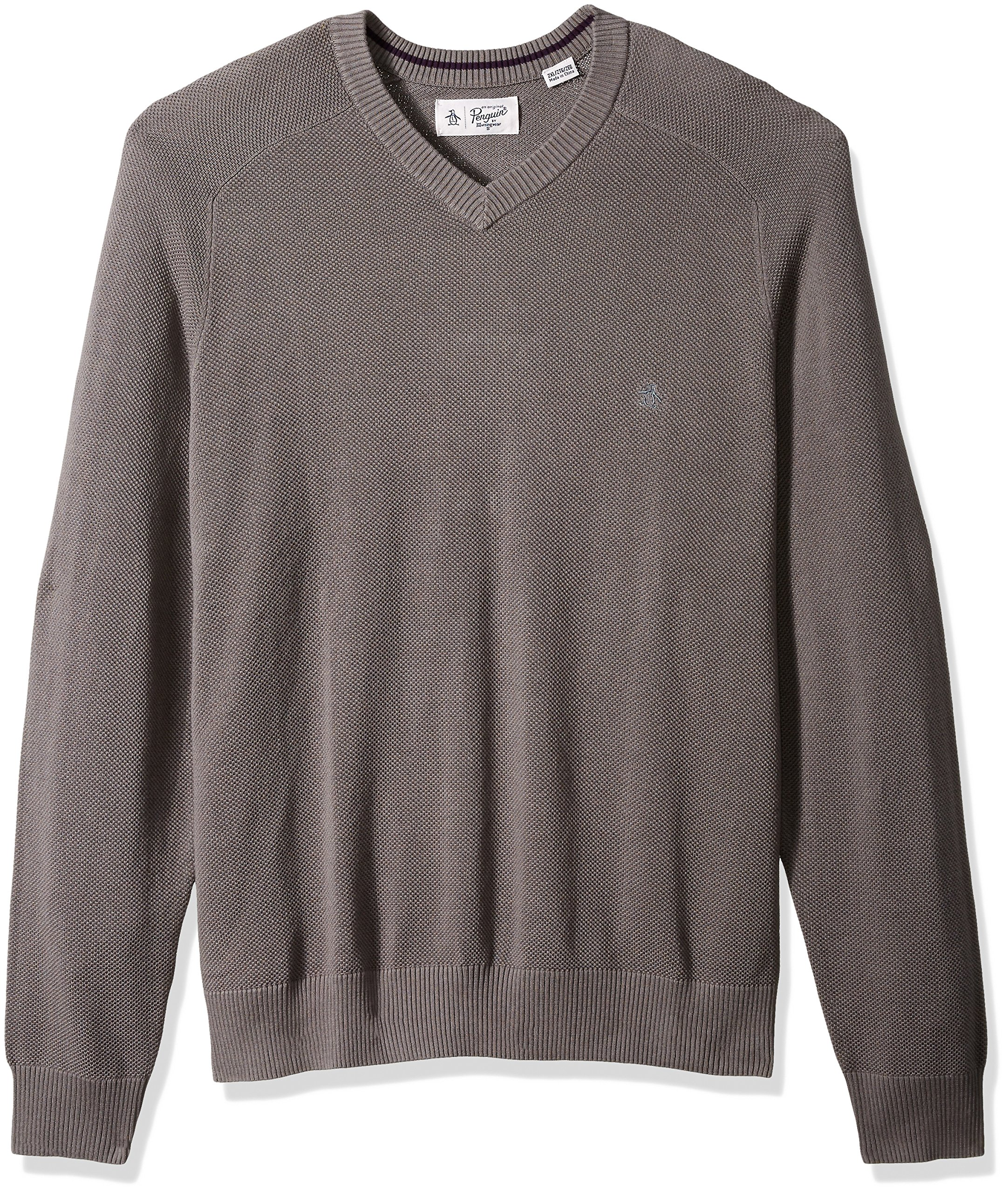 Original Penguin Men's Big and Tall Honeycomb V-Neck Sweater, Steel Gray, 1 XL-Extra Large