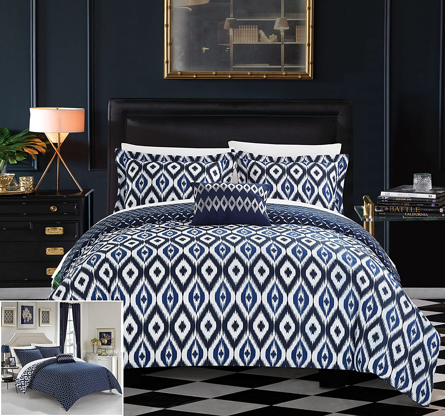Chic Home 4 Piece Normani Reversible Ikat Diamond and Contemporary Geometric Pattern Print Technique King Duvet Cover Set Navy