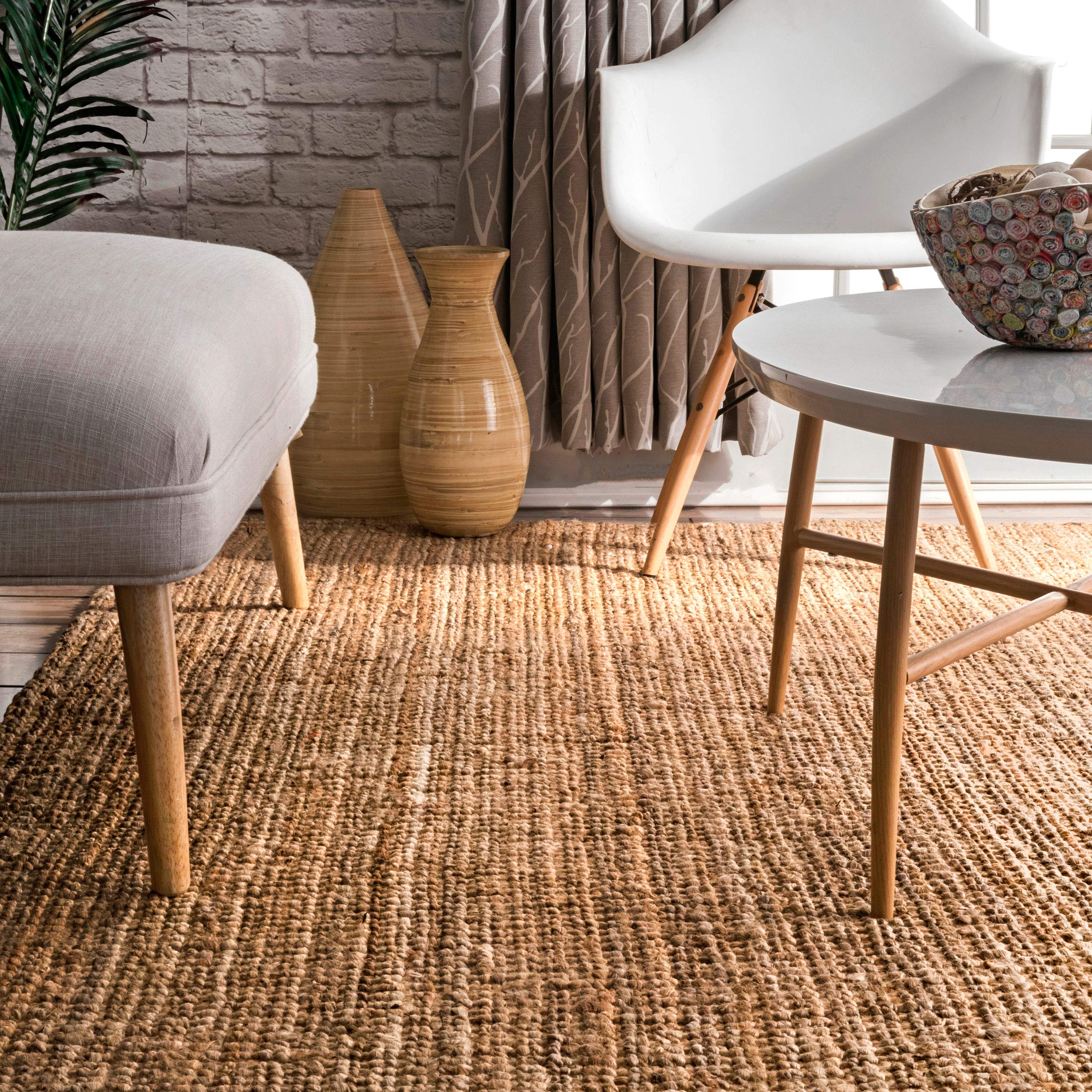 nuLOOM Handwoven Jute Ribbed Solid Area Rugs, 4' x 6', Natural by nuLOOM (Image #6)
