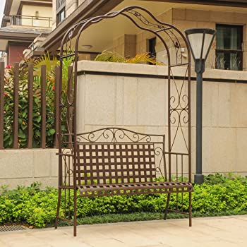 International Caravan Outdoor Arbor Bench In Matte Brown