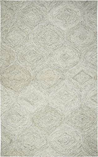Rizzy Home Brindleton Collection Wool Area Rug, 8 x 10 , Beige Gray Rust Blue Trellis