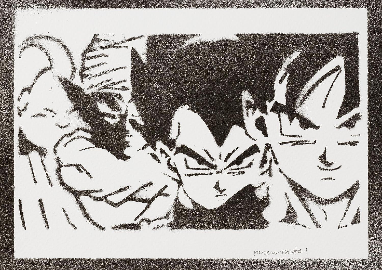 Dragon Ball Goku Vegeta Piccolo Majin Bu Handmade Street Art - Artwork - Poster