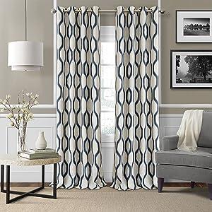 "Elrene Home Fashions Renzo Ikat Geometric Linen Room Darkening Window Curtain Panel, 52"" x 95"" (1, Indigo"