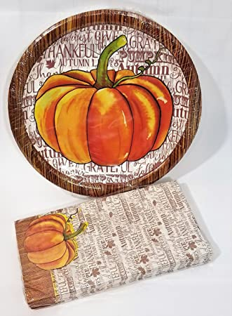 Thankful Grateful Harvest Tableware Bundle Thanksgiving Paper Holiday Serving Plates Set & Amazon.com: Thankful Grateful Harvest Tableware Bundle Thanksgiving ...