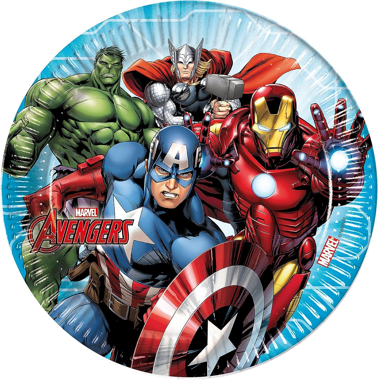Procos 52-teiliges Party-Set Marvel Mighty Avengers Teller Becher Servietten f/ür 16 Kinder
