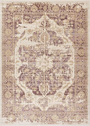 Well Woven Millie Tribal Lavender Medallion Area Rug 8×11 7 10 x 10 6 Purple Beige Modern Distressed Oriental Plush Super Soft Carpet