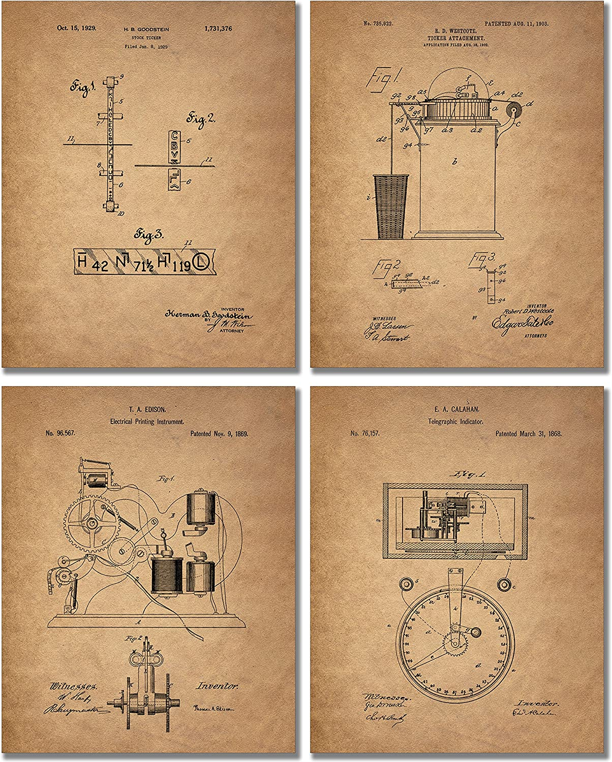 Stockbroker Patent Prints - Set of 4 (8 inches x 10 inches) Photos Banker Vintage Wall Decor
