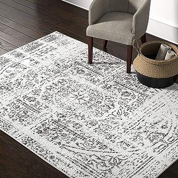Amazon Com Amazon Brand Rivet Muted Boho Rug 5 X 8 Off White Furniture Decor