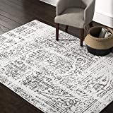 Amazon Brand – Rivet Muted Boho Rug, 5' x 8', Off-white