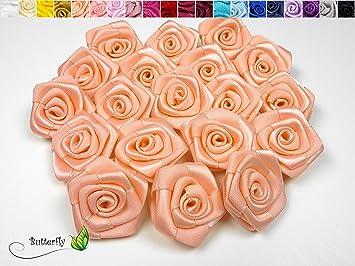 Amazon De 10 Stk Satinrosen 3cm Apricot 714 Rosen 30mm