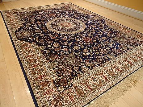 New Silk Persian Navy Rug High Quality Silk Rug Navy Door Mat Kitchen Rugs  Luxury Bedroom