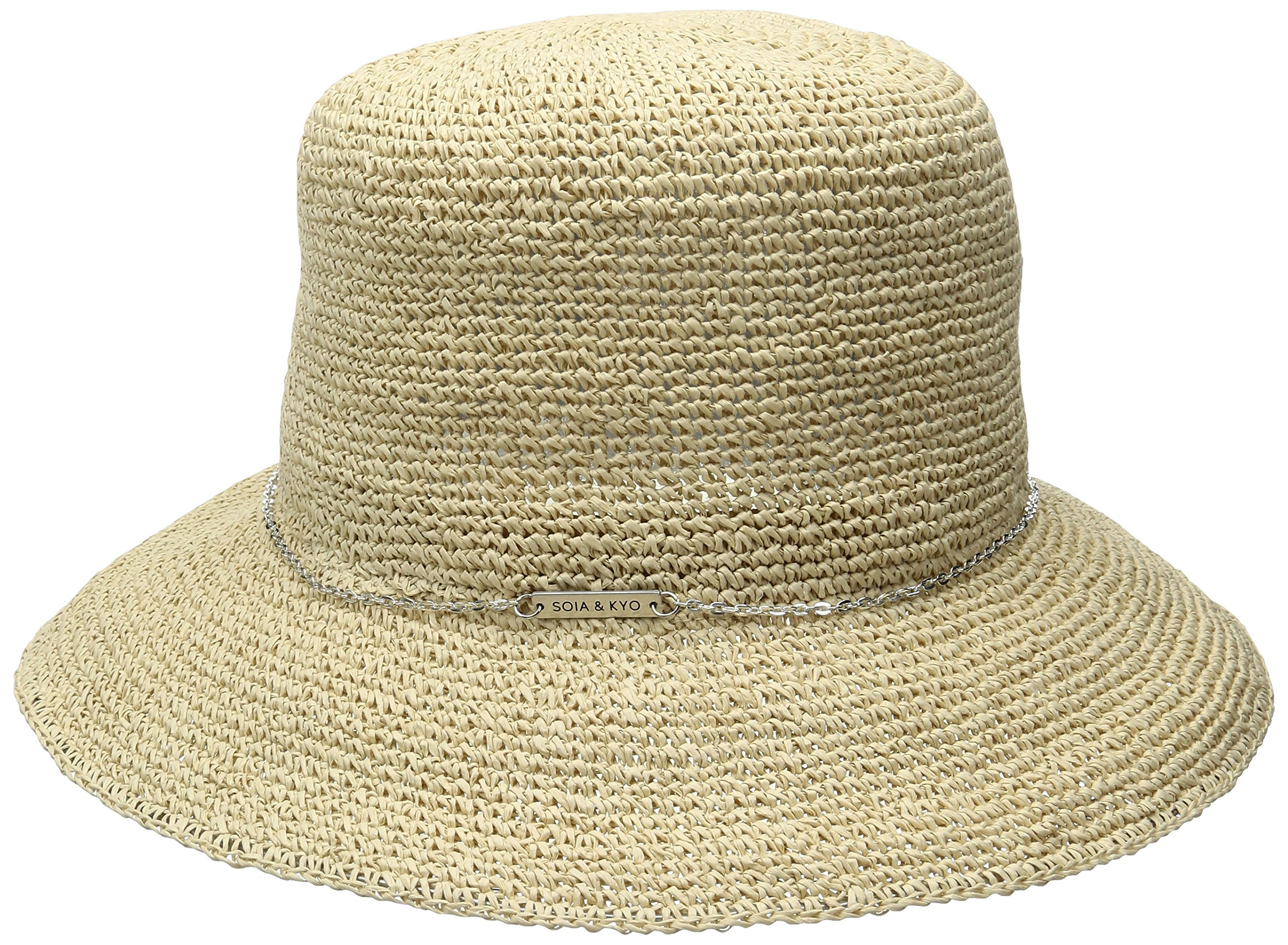 Soia & Kyo Women's Dorothea Wide Brim Crochet Hat with Chain Trim, Tan, One Size by Soia & Kyo (Image #1)