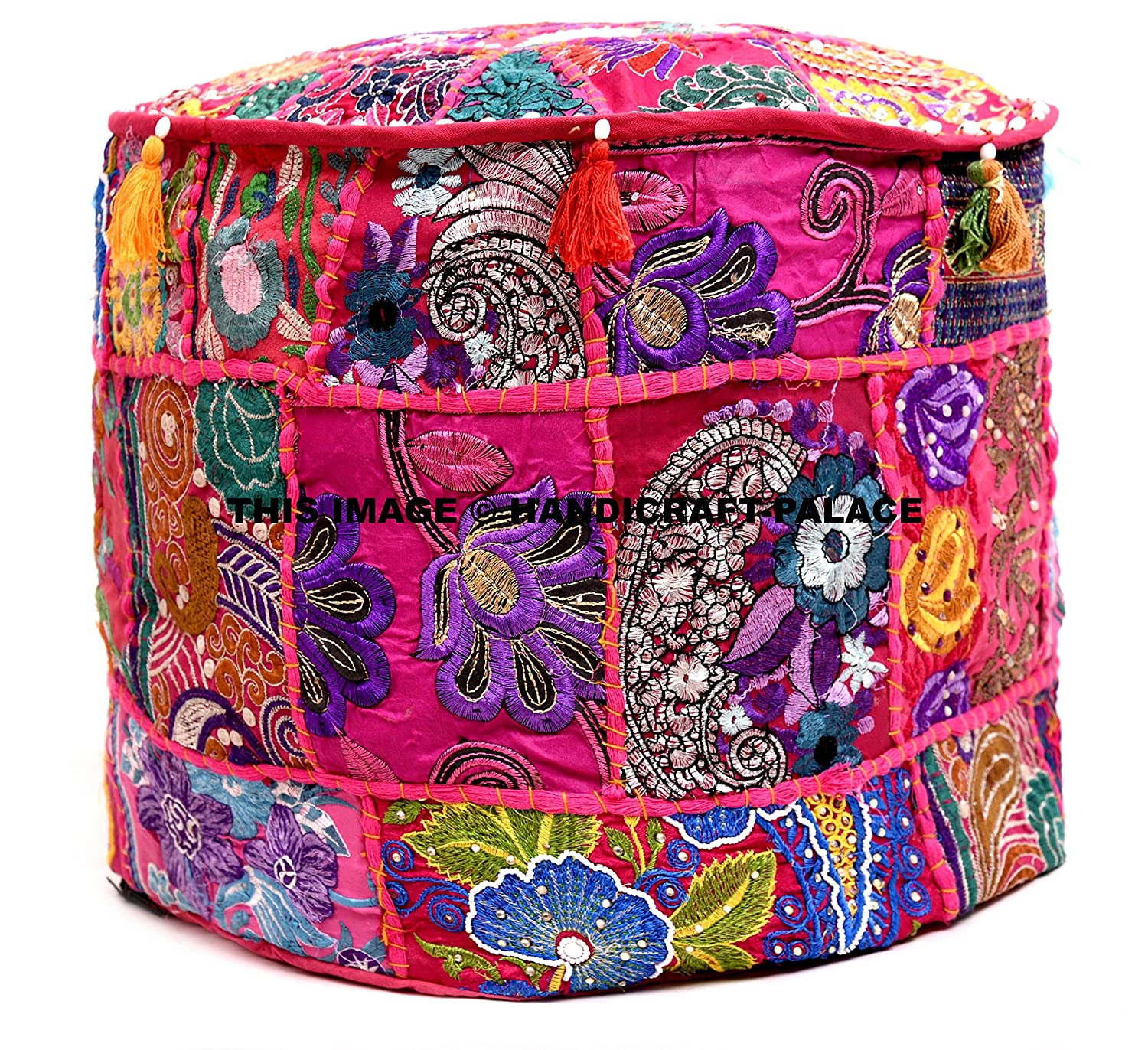 Beautiful Pink Color Ruond Ottoman Indian Patchwork Pouffe , Indian Traditional Home Decorative Handmade Cotton Ottoman Patchwork Foot Stool- Floor Cushion Decor , Embroidered Chair Cover Handicraft-Palace POSS-7