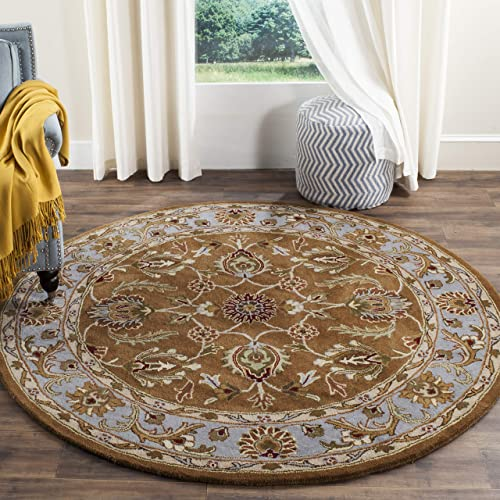 Safavieh Heritage Collection HG812A Handcrafted Traditional Oriental Brown and Blue Wool Round Area Rug 3'6″ Diameter
