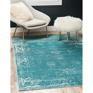 Unique Loom Sofia Collection Traditional Vintage Turquoise Area Rug (5' x 8')