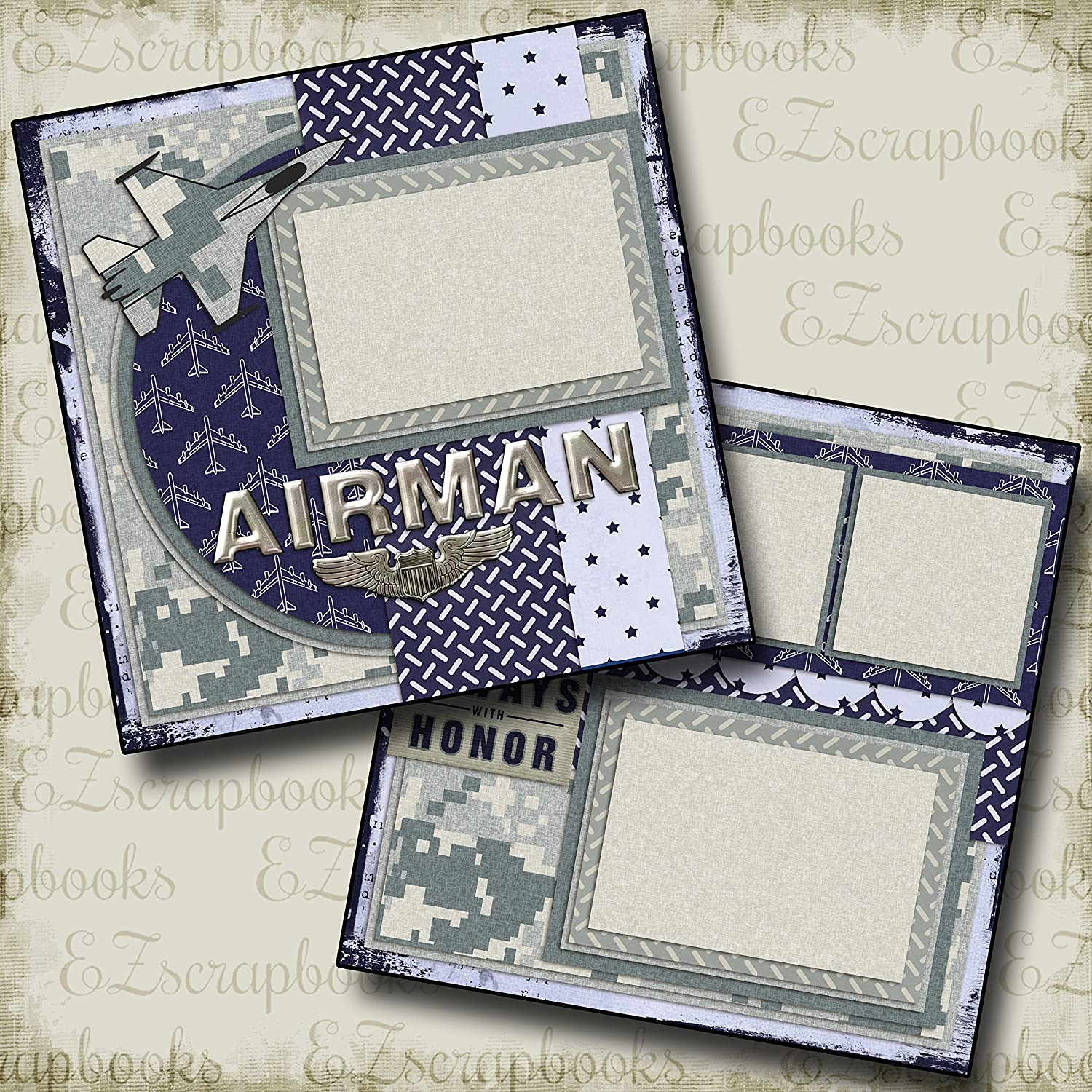 EZ Layout 136 AIR FORCE Premade Scrapbook Pages