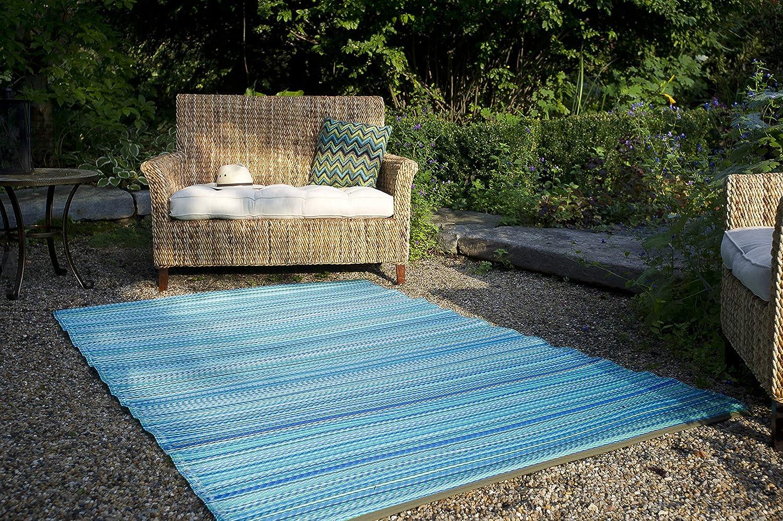 Fab Hab - Cancun - Türkis & Moosgrün - Teppich  Matte für den Innen- und Außenbereich (120 cm x 180 cm)