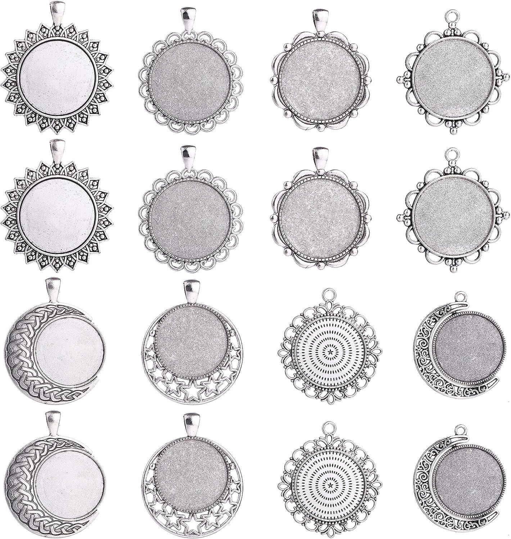 Blank Bezel pendant Trays base\u3002 25Pcs 14mm Antique Bronze Cabochon Base Setting Pendants,round pendant blank
