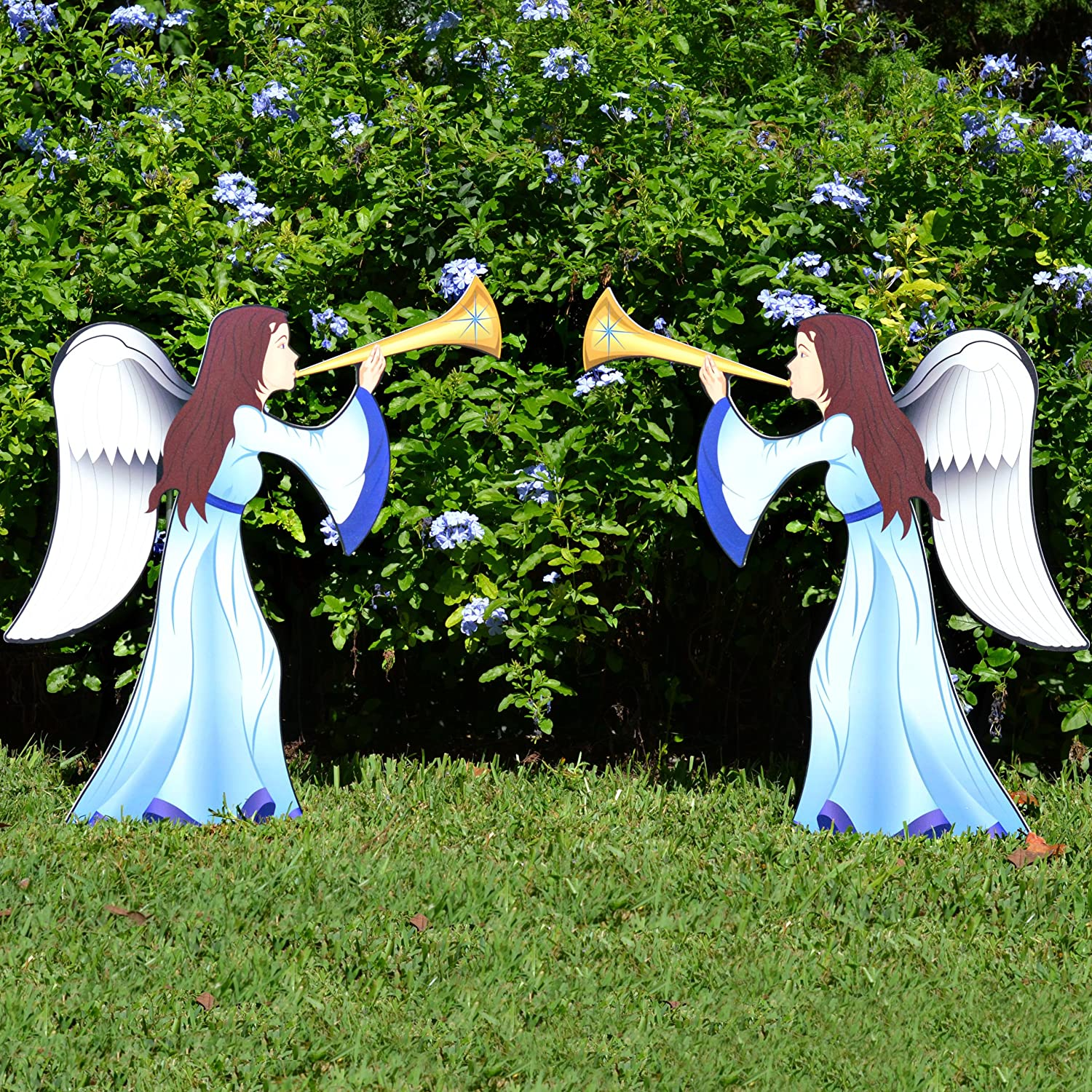 outdoor angels Christmas decorations printed nativity set