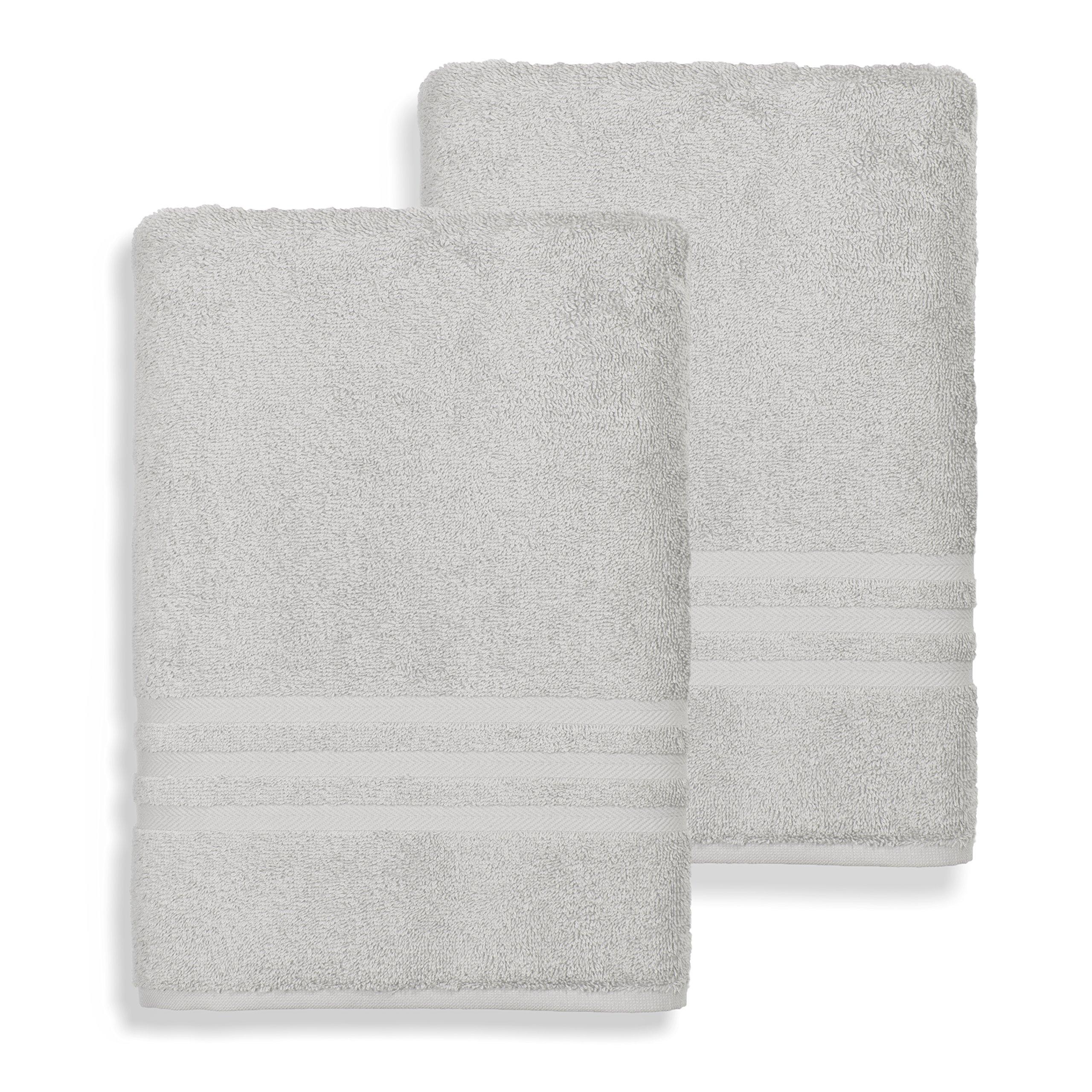 Linum Home Textiles 100% Turkish Cotton Denzi Bath Sheets, Set of 2, Light Grey