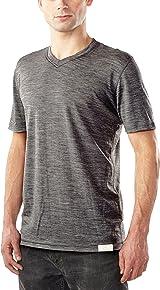 Woolly Clothing Men's Merino Short Sleeve V-Neck - Moisture wicking, anti-odor, casual athletic wear