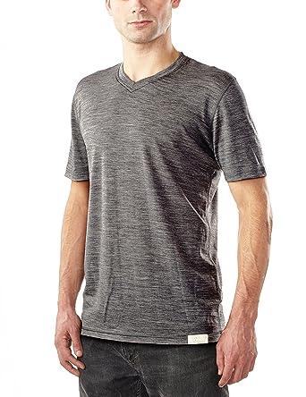1ab25509206b Woolly Clothing Men's Merino Wool V-Neck Tee Shirt - Ultralight - Wicking  Breathable Anti