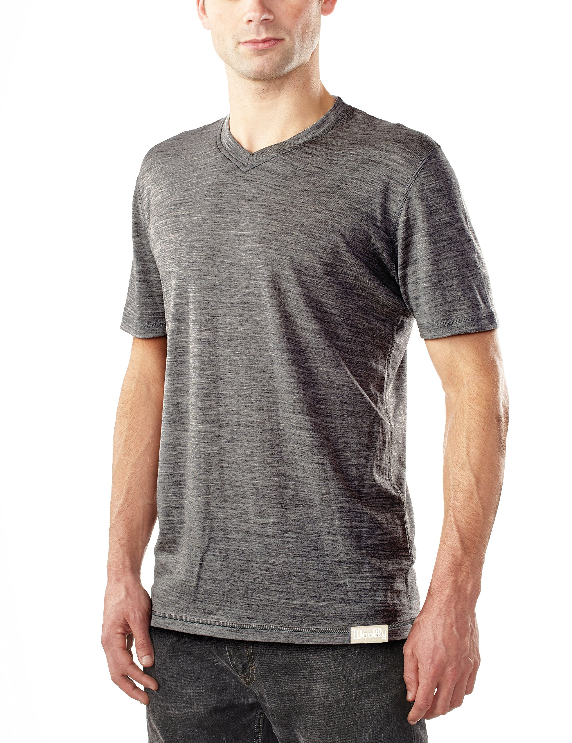 Woolly Clothing Co Men's Merino Wool V-Neck Hiking and Travel T-Shirt,Charcoal,X-Large