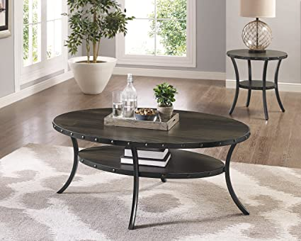 Roundhill Furniture 3362C Biony Espresso Wood Coffee Table With Nail Head  Trim
