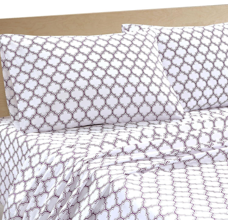 Intelligent Design Ogee 200 Thread Count Sheet Set, Queen, Purple