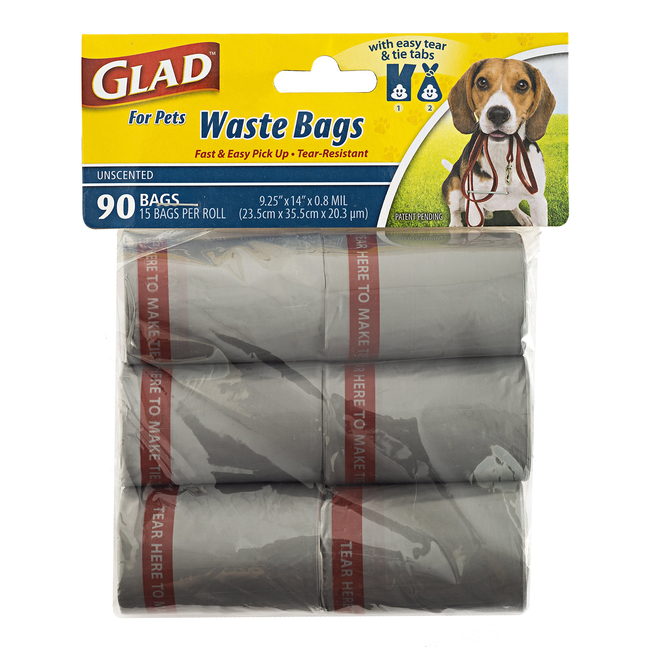Glad for Pets Dog Waste Bag Dispenser with Extra Large Bags, 90 Count, Unscented