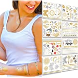Flash Metallic Temporary Tattoos For Women - 150+ SEXY Tattoo Designs with Gold & Silver Shimmer - 8 LARGE Sheets Include WATERPROOF Butterfly , Anchor , Flowers & More - PERFECT For Adults or Kids