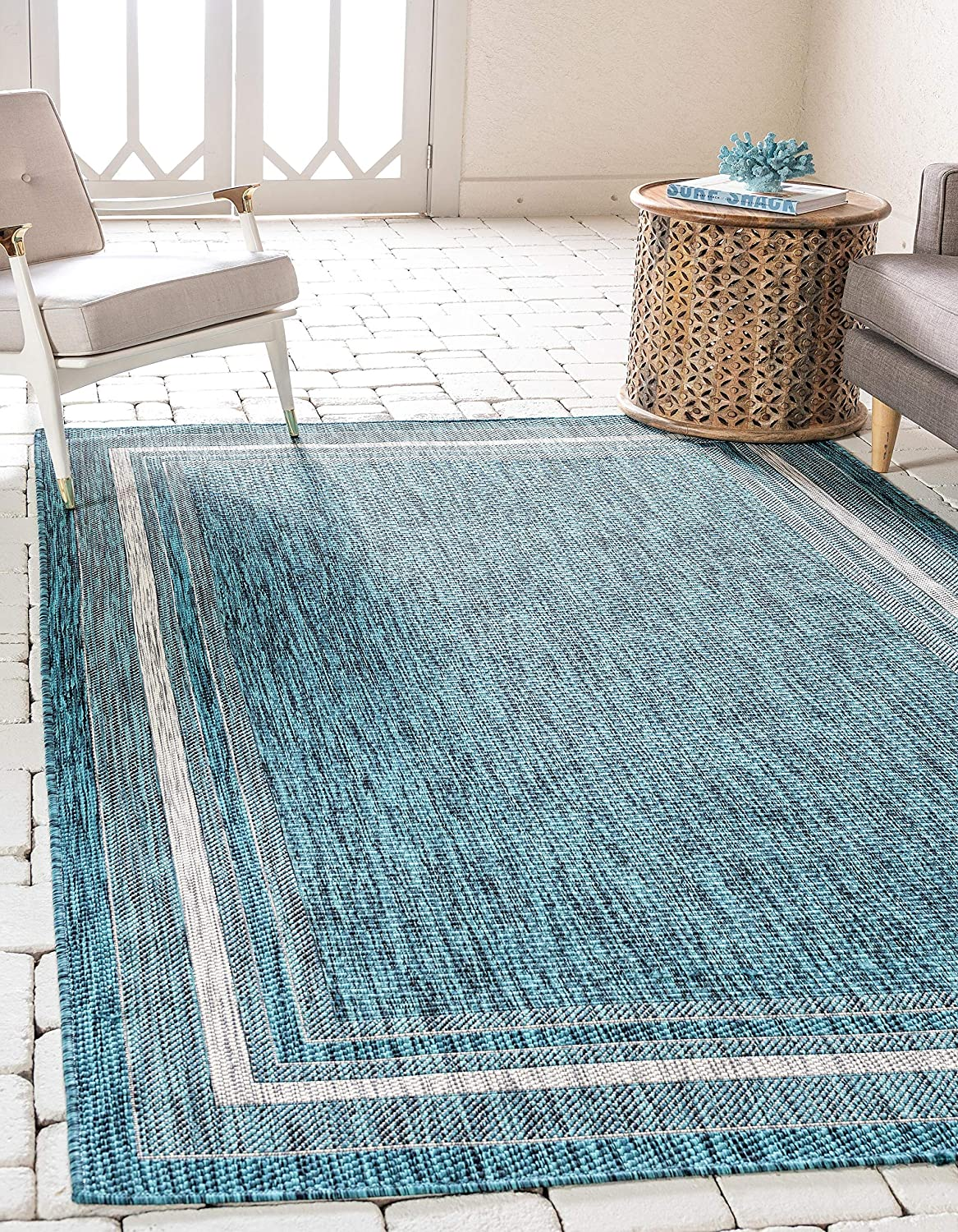Unique Loom Outdoor Border Collection Casual Solid Border Transitional Indoor and Outdoor Flatweave Teal Area Rug (9' 0 x 12' 0)