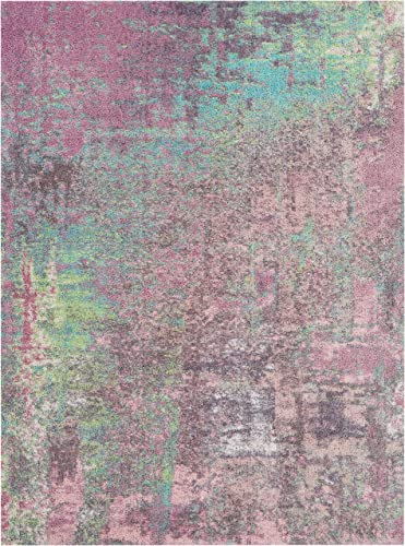 Nourison Abstract Shag Pink Area Rug 7'6″ x 9'6″