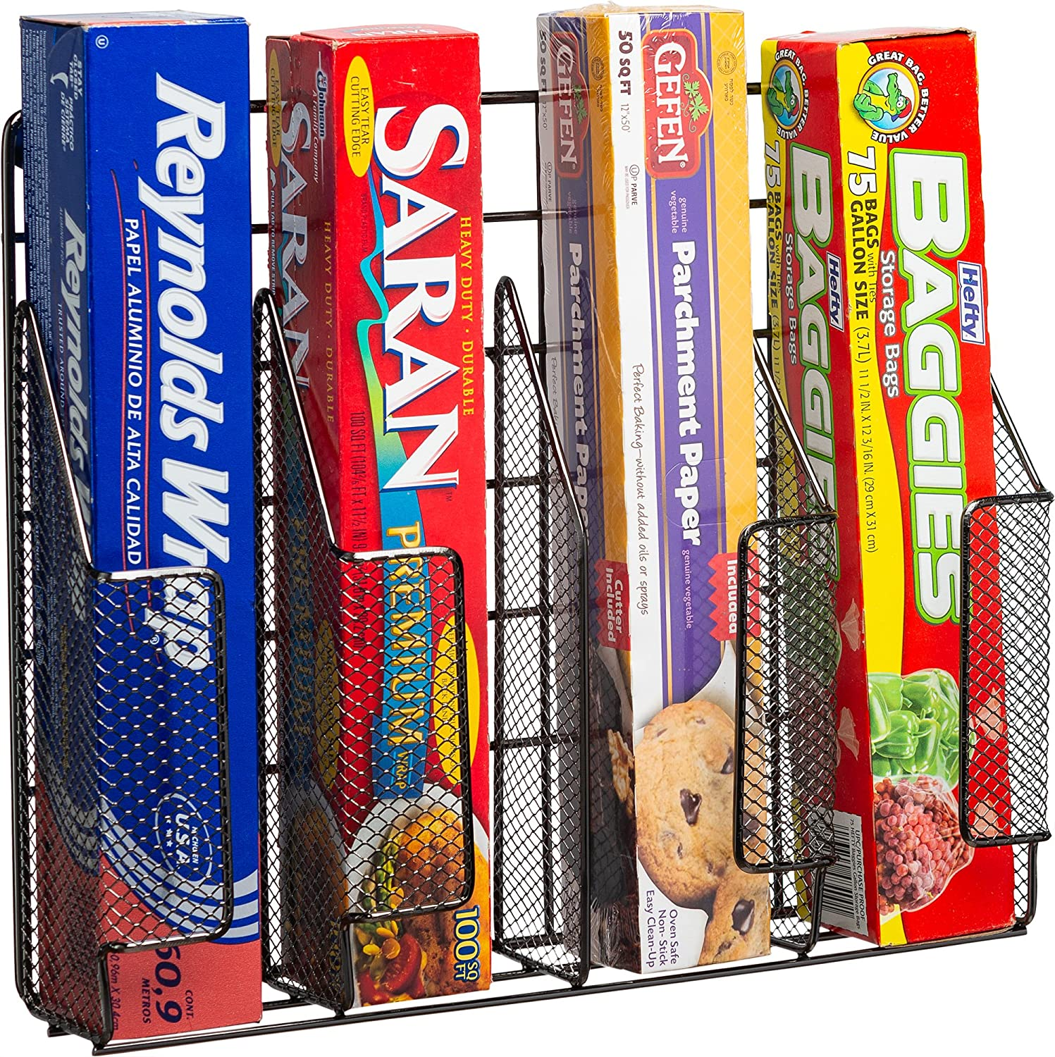 Home Basics Stainless Steel Rust Resistant Wrap Organizer, Great for Food Storage Bags, Silver foil, Wax Paper, Sandwich Bags, Plastic wrap- Mounts to Cabinet Door or Wall. Onyx/Black Finish