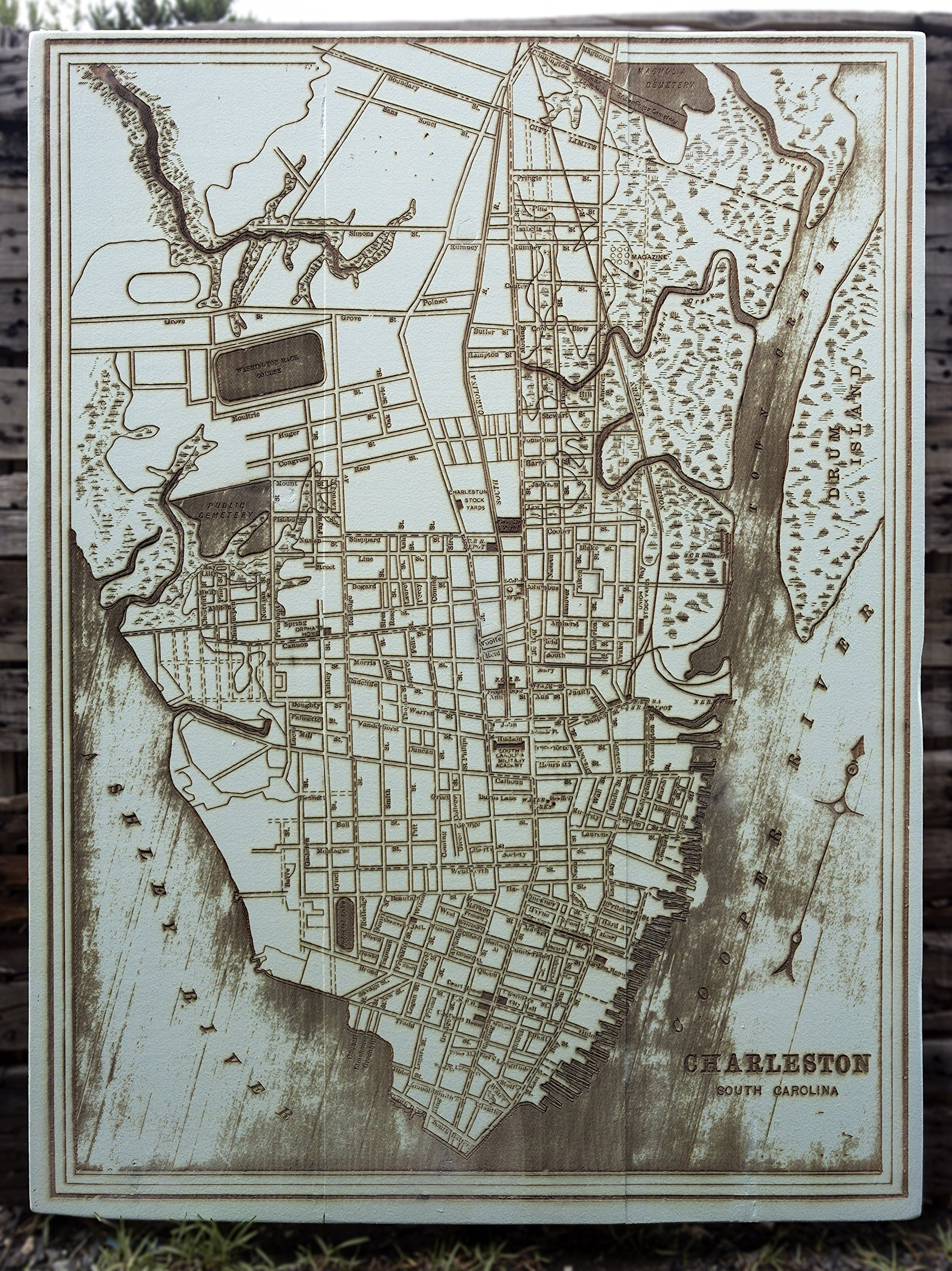 Downtown Charleston - 1898 wood engraved map