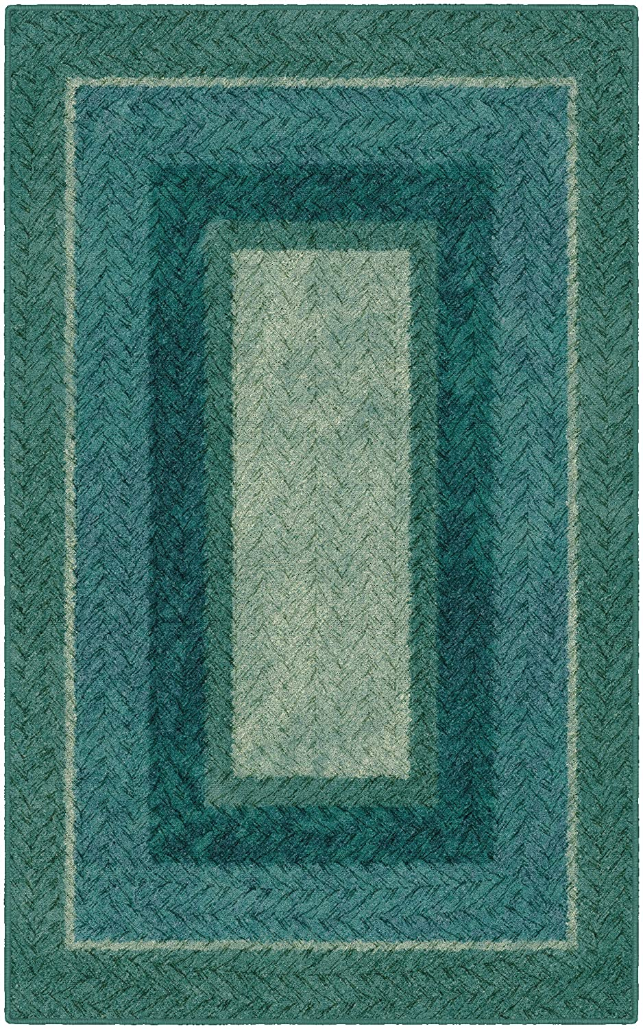 """Brumlow Mills Muted Braided Print Home Indoor Area Rug for Living Room Decor, Dining Room, Kitchen Rug, or Bedroom, 2'6"""" x 3'10"""", Teal,EW10155-30x46"""