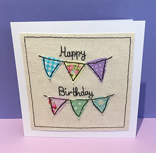 Bunting Birthday Card Floral Birthday Bunting Card Machine