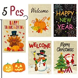 WATINC 5Pcs Garden Flag Happy Thanksgiving Welcome Fall Winter Merry Christmas New Year Holiday Decorations Pumpkins Turkey Santa Snowman Double Sided Burlap House Flags for Home 12.4 x 18.2 Inch
