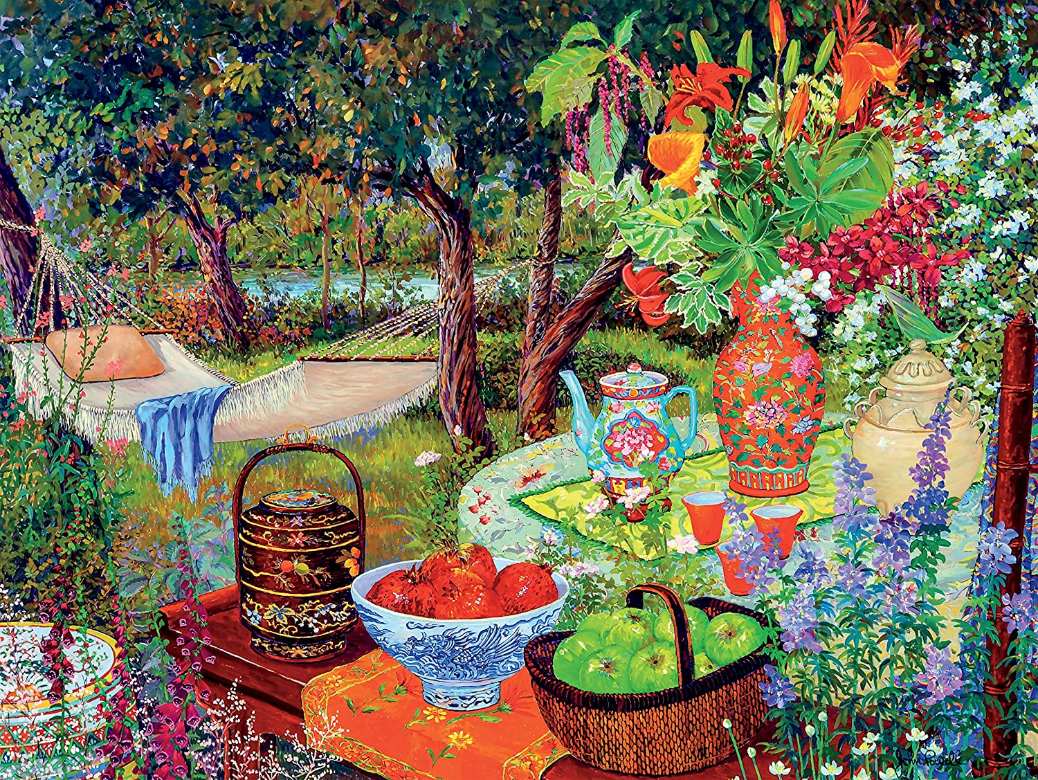 John Powell - Turquoise Tea and Harvest Apples Jigsaw Puzzle, 300 Pieces