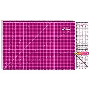PRYM Aqua-Trickmarker A1 Schneideunterlage 90 x 60 cm Patchwork Lineal SEMPLIX Schneidematten Set grau//pink Rollschneider Maxi