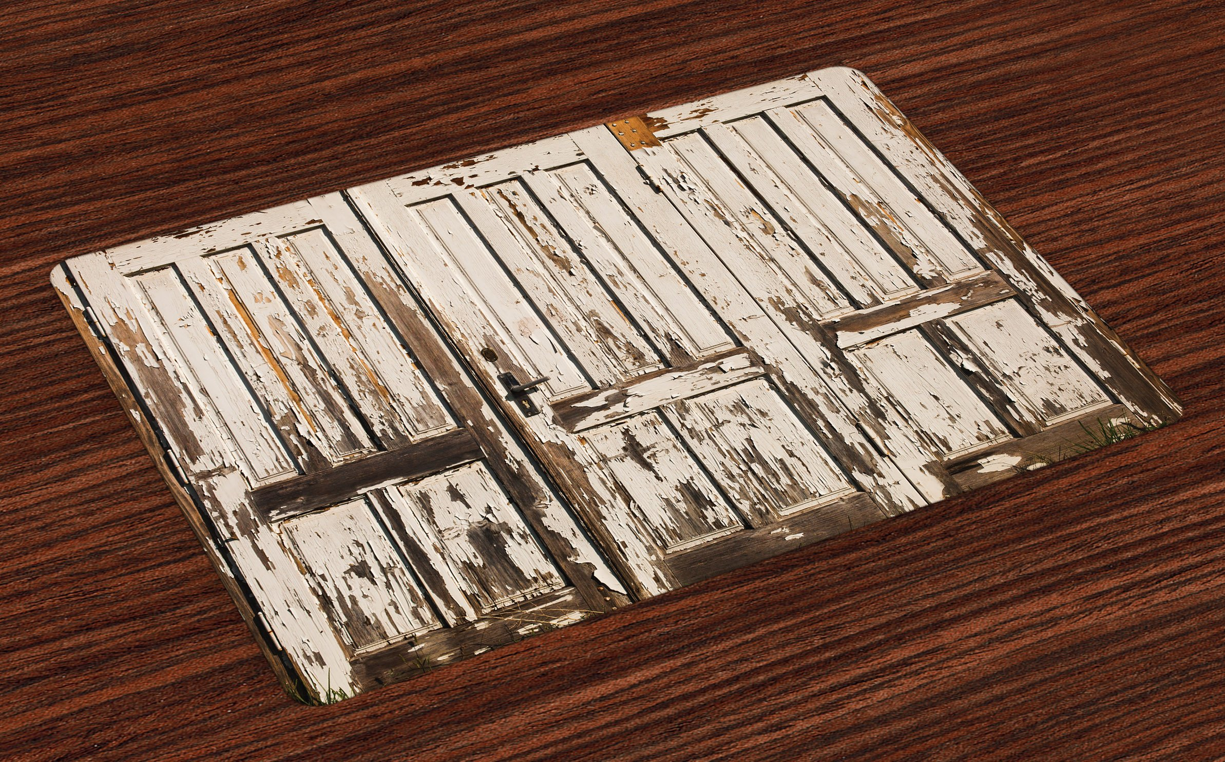 Ambesonne Rustic Place Mats Set of 4, Vintage House Entrance with Vertical Old Planks Distressed Rustic Hardwood Design, Washable Fabric Placemats for Dining Room Kitchen Table Decor, Brown White