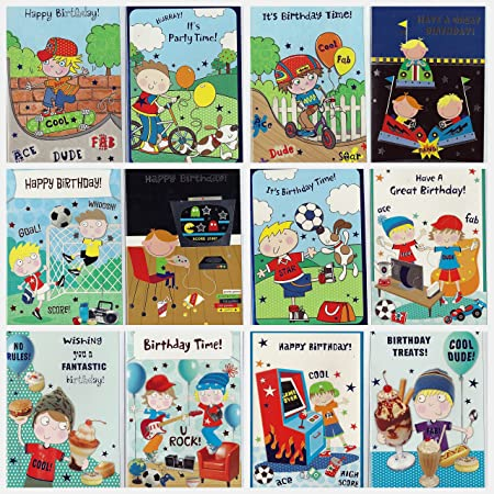 Pack Of 12 Assorted Little Boy Birthday Cards Individually Packed