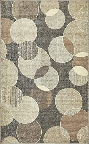 Unique Loom Chromatic Collection Modern Bokeh Kids Gray Area Rug 5 0 x 8 0